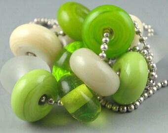 Spring Green,12 Handmade Lampwork Glass Beads,lampwork bead set,jewelry supplies,lampwork spacer bead,artist lampwork