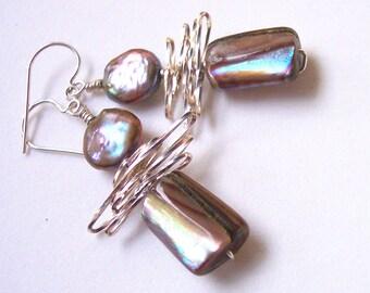 Hazelnut Pearl Earrings, Goddess Jewelry, Mother of Pearl Shell Earrings, Taupe, Modern Earrings, Contemporary, Neutral