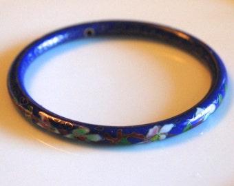 SALE Cloisonne Bracelet- Enamel Bracelet- Blue Red Green Pink Enamle-Vintage Jewelry - Asian Jewelry
