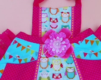 Owl Party Banner Apron