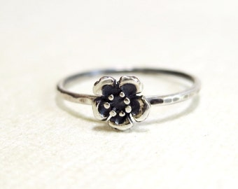 Wild Rose ring, Sterling Silver, stacking, hammered, oxidized