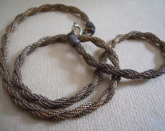 Vintage Braided Brass Mesh Necklace Blank