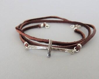 Leather Wrap Cross Bracelet - Sideways Cross Jewelry - Sterling Cross Bracelet