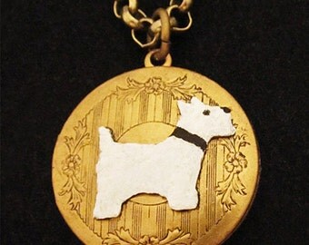 WESTIE JEWELRY: LOCKET Necklace. Gifts for West Highland White Terrier Lovers. Vintage Style Jewelry Pendant