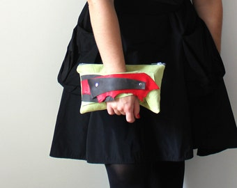 Chartreuse Red and Charcoal Gray Leather Wrist Clutch