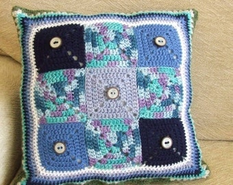 Blue Monday Crochet Cushion Cover