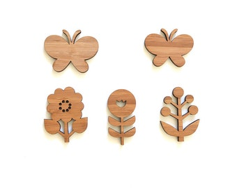 Flowers and butterflies, Wood Ornaments, Room decor for kids room and