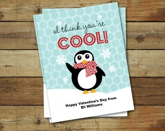 Printable Penguin Valentine's Day Card - I think you're cool - printable valentine - editable pdf - instant download - diy valentine