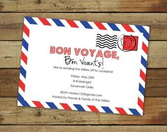 custom bon voyage party invitation - goodbye party - airmail postmark