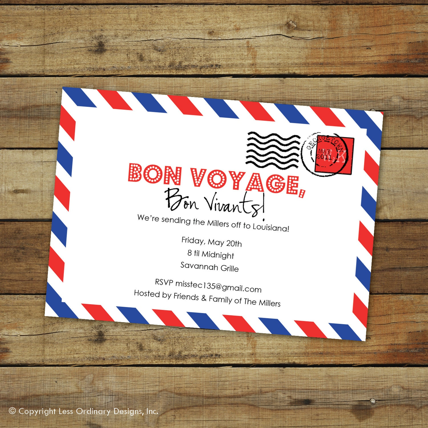 custom bon voyage party invitation goodbye by saralukecreative, Party invitations
