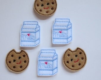 Milk and Cookies Felt Embroidered Embellishments - 065