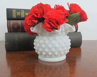 Vintage Milk Glass Hobnail Vase Ruffled Top Edge