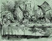 Digital Download Mad Tea Party, Mat Hatter, White Rabbit Alice in Wonderland digi stamp, digital stamp, Lewis Carroll Antique Illustration