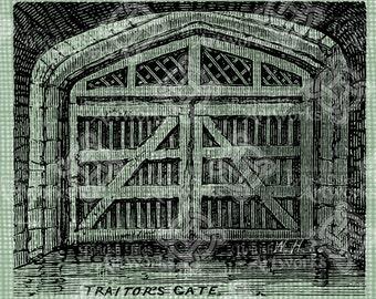 Digital Download Tower of London Traitor's Gate, Antique Illustration, Vintage drawing, UK, British Gate of Death, digi stamp, digital stamp