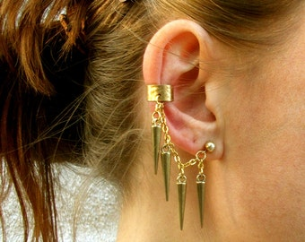 Gold-Spike-Ear Cuff-Earrings-Customized  / Free US Shiping