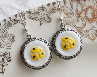 Sunflower, Vintage Glass Button Earrings