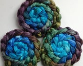 Roving for spinning hand dyed luxury silk blends gradient roving Paua 2ozs PRE order