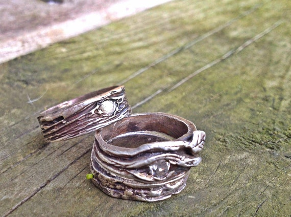 Artisan Wedding Rings BRANCH SET Engagement Sapphire His And Hers