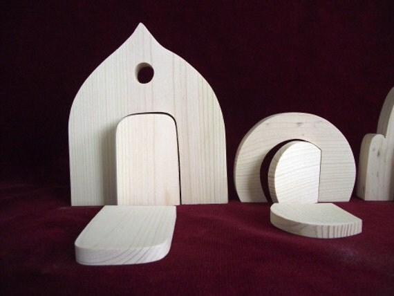 Set of 3 fairy doors unfinished pine from clickityclack for Unpainted fairy doors