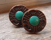 Cabinet knob Copper enameled cabinet knob cabinet pull spruce greenish blue / set of 2