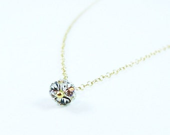ECLAT - Crystal Ball Charm With 14K Gold Filled Necklace - Simple Lovely Everyday Jewelry Gift For Her