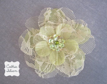 Lime Lace Flower - Sequin Center - Millinery, Hair Flowers, Pin, Bows, Headband, Baby