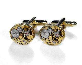 JULES JURGENSEN Cufflinks Mens Cufflinks Vintage Gold Jewel Watch Cuff Links Wedding Groom Valentine Men - Steampunk Jewelry by edmdesigns