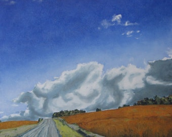 """Canadian Art Large Landscape Oil Painting Country Road Sky Cloud Impressionist Eastern Townships Quebec Fournier """"Across A Golden Soya Field"""