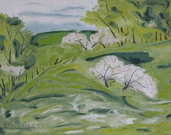 "Art Original Oil Painting Plein Air Appalachian Spring Landscape Impressionist Apple Tree Quebec Canada By Fournier "" Blossom On The Hill """