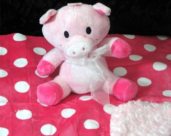 Piggie Squeaker Toy & Blanket - Dog Toy -Baby Toy -Cuddle Critter Pig - Pig Toy and Blanket - Includes Embroidered Personalization