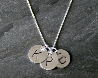 Trio Letter Charm, Sterling Silver Necklace, Three Custom Letter Charms, Personalized, Monogram Jewelry, Mothers Necklace hand stamped