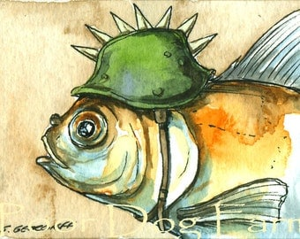 ACEO signed PRINT - Goldfish in a  Spike Helmet -