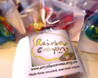 10 JUMBO Recycled Crayons - Recycled Rainbow Crayon Favors (Party Pack of 10 Recycled Crayons)