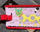 Luggage Tag with Polka Dot Cat