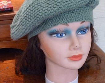 green hat, knit hat, handmade hat, green beret, green winter hat, accessories, womens clothing, fall hat, winter hat, unique style hat, boho