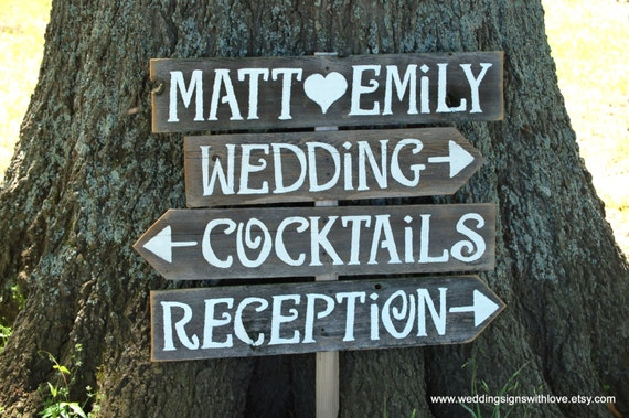 Vintage Wedding Signs AND Stake Reclaimed Wood Signs