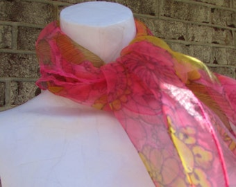 1960's Chiffon Scarf Floral Pink Yellow and Orange True Vintage