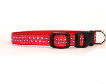 5/8 or 3/4 Inch Wide Dog Collar with Adjustable Buckle or Martingale in Star Spangled