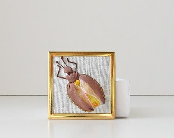 Brown beetle brooch, insect jewelry, embroidered bug, silk ribbon insect, square brooch, unisex jewelry, lapel pin