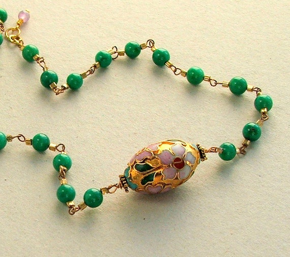 Emerald Green Necklace Pendant Fashion Gold Wire Wrapped Rosary Link Green Aventurine Chain SALE