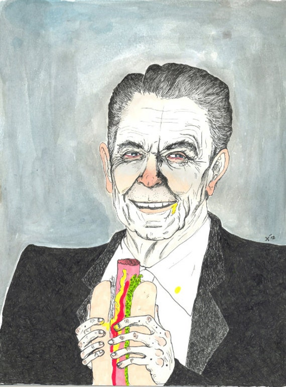 Jelly Beans Ronald Reagan eating a hot dog print