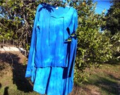 Blue Shibori Dyed Extended Sleeve Top and Lotus Skirt