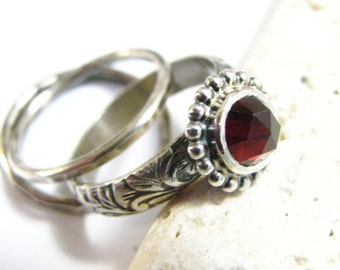 Stacking Garnet Ring Set, Sterling Silver Stacker Rings, January Birthstone, Metalsmith Ring, Red Gemstone Ring Size 4 - 11, Garnet Jewelry