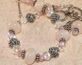 Pink Aventurine Bracelet, Swarovksi Crystal, Sterling Silver, Celtic, Handmade Jewerly, DDurda