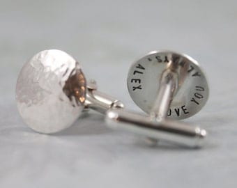 Father's Day, Custom Cufflinks, Personalized Cufflinks, Solid Sterling Silver Cuff links, Groomsmen Cufflinks, Menspersonalized cuff links