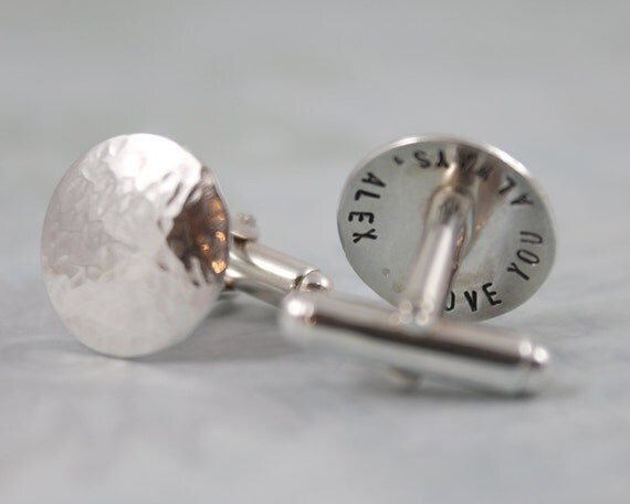 Custom Cufflinks, Personalized Cufflinks, Solid Sterling Silver Cuff links, Groomsmen Cufflinks, Menspersonalized cuff links