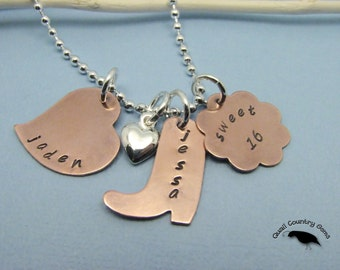 Personalized Hand Stamped Sweet 16 Pendant Necklace Copper