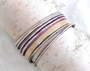Flaxen Colored Bangle Set - Handmade Enamel Bracelets