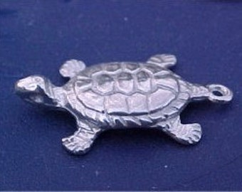 Turtle Charm pewter made in America jewelry findings quantity 3 charm  WV3
