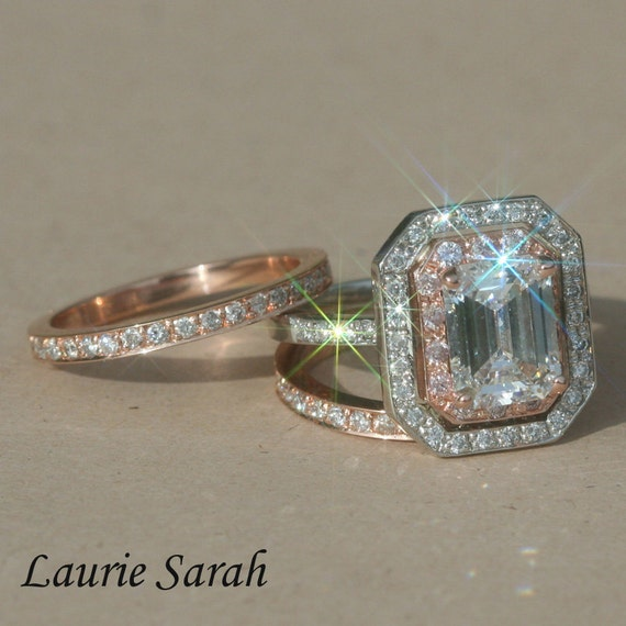 Rose Gold and Platinum Engagement Ring, Emerald Cut Diamond Wedding Set with Pink Diamonds - LS1439